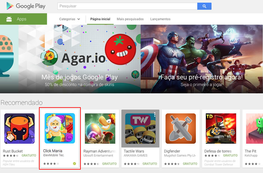 Click Mania featured on Play Store main page !!!